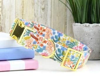 English Garden Meadow Dog Collar ~ Rifle Paper Co ~ Multi-Colored Floral Fabric Dog Collar ~ Fashion Collar ~ Yellow Gold Hardware