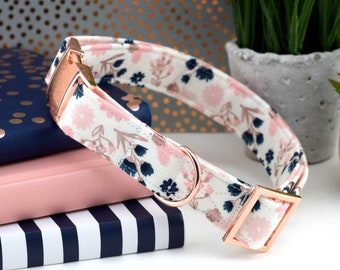 Dog Collar - Rose Gold Dog Collar - White, Blush, Navy, Rose Gold Floral Print Cotton Fabric Dog Collar - Fashion Dog Collar - Rose Gold