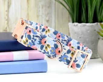 Les Fleurs Rosa Dog Collar - Periwinkle ~ Floral Fabric Collar ~ Rifle Paper Company Dog Collar ~ Fashion Collar ~ Rose Gold Metal Hardware