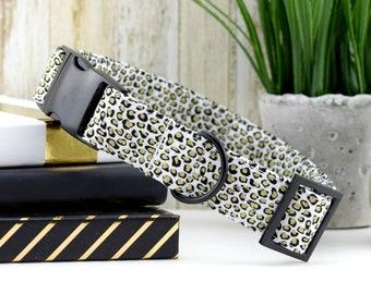 Mini Cheetah Dog Collar - Black & Gold ~ Fashion Dog Collar ~ Fabric Dog Collar ~ Matte Black Hardware ~ Sandy Paws Collar Co