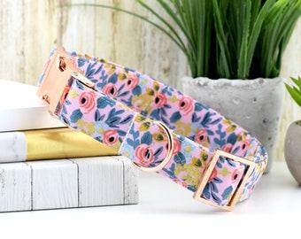 Menagerie Rosa Dog Collar - Violet ~ Les Fleurs Rosa ~ Metallic Fabric Collar ~ Cotton + Steel Rifle Paper Company ~ Rose Gold Hardware