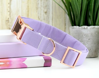 Solid Light Purple Dog Collar ~ Fabric Dog Collar ~ Fashion Dog Collar ~ Rose Gold Metal Hardware ~ Sandy Paws Collar Co