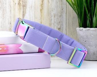 Solid Light Purple Dog Collar ~ Rainbow/Iridescent Hardware ~ Sandy Paws Collar Co