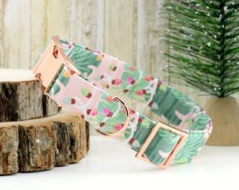 Tropical Christmas Dog Collar ~ Palm Leaf Fabric Dog Collar w/ Christmas Lights ~ Custom Dog Collar ~ Rose Gold Hardware ~ Sandy Paws Collar