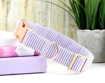 Seersucker Dog Collar - Purple & White ~ Seersucker Cotton Fabric Fashion Dog Collar ~ Rose Gold Metal Hardware ~ Sandy Paws Collar Co