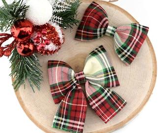 Christmas Plaid Dog Collar Bow ~ Christmas Dog Collar Bow Tie ~ Girly Dog Collar Bow ~ Slide On Bow for Dog Collar ~ Sandy Paws Collar Co