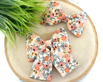 Les Fleurs Rosa Dog Collar Bow - Peach ~ Floral Bow Tie ~ Girly Dog Collar Bow ~ Slide On Bow for Dog Collar ~ Sandy Paws Collar Co