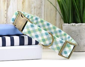 Summer Gingham Dog Collar - Green ~ Blue, White ~ Fabric Dog Collar ~ Fashion Dog Collar ~ Antique Bronze Hardware ~ Sandy Paws Collar Co