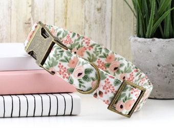 Garden Party Dog Collar - Rose ~ Floral Fabric Collar ~ Rifle Paper Company Dog Collar ~ Fashion Collar ~ Antique Bronze Metal Hardware