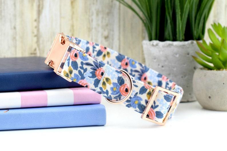 Les Fleurs Rosa Dog Collar  Periwinkle  Floral Fabric Collar image 0