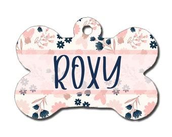 Dog ID Tag - White, Blush, Navy, Rose Gold Floral Print - Pet Tag - Personalized Dog Tag - Custom Dog Tag - Custom Pet Tag - Dog Collar Tag