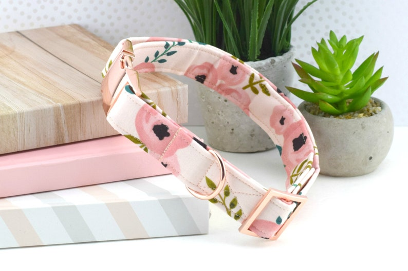 Blush Watercolor Floral Dog Collar Pink Floral Fabric Dog image 0