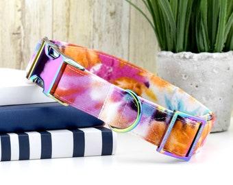 Tie Dye Dog Collar ~ Multi Color Fabric Dog Collar ~ Fashion Dog Collar ~ Custom Dog Collar ~ Rainbow Metal Hardware ~ Sandy Paws Collar