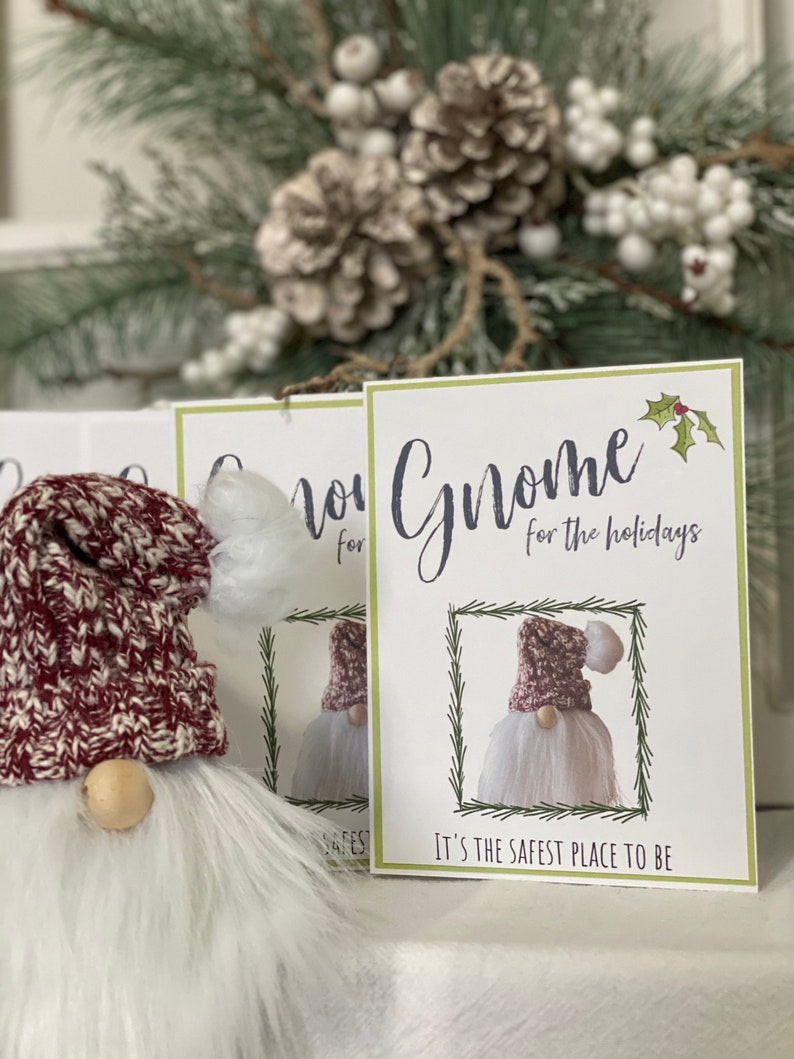 Printable Greeting Card  Gnome for the Holidays  Digital image 0
