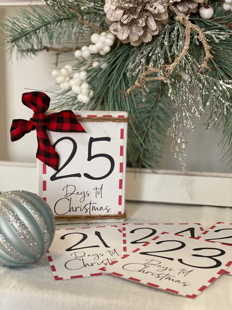 Christmas Countdown Wood Sign  Rustic No Glass Mini Frame  Wood Sign & 25 Cards