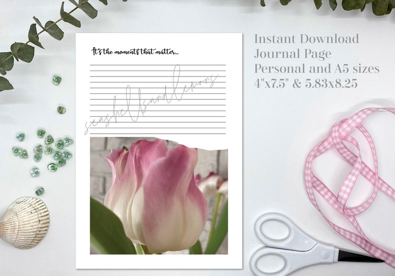 Printable Journal Page  Tulip Moments  Stationery  Writing image 0