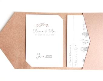 Pocketfold Wedding Invitation, Invitation to Wedding Pocketfolding Card • Olivia & Peter