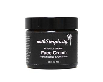 SAMPLE Organic Face Cream with therapeutic grade Frankincense and Geranium essential oils, face moisturizer, Vegan