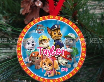 paw patrol ceramic holiday ornament