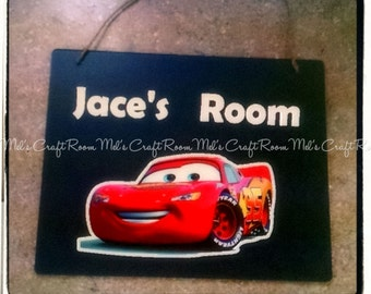 Cars Lighting McQueen  Personalized Chalkboard Room Sign