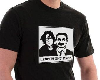 Lennon and Marx John & Groucho T-shirt. 3XL 4XL 5XL Music Movies Funny Cotton Tee.