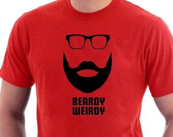 Beardy Weirdy Hipster Short Beard Moustache & Glasses T-shirt. Funny Cotton Tee.