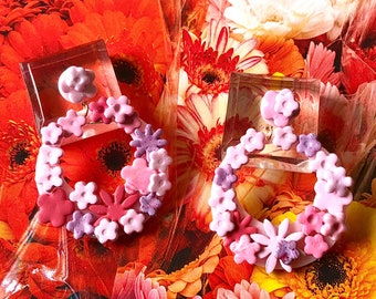 Floral Hoop Earrings, Flower Dangle Hoop Earrings, Handmade Earrings, Modern Hoop Earrings, Flower Bud Earrings, Contemporary Hoop Earrings