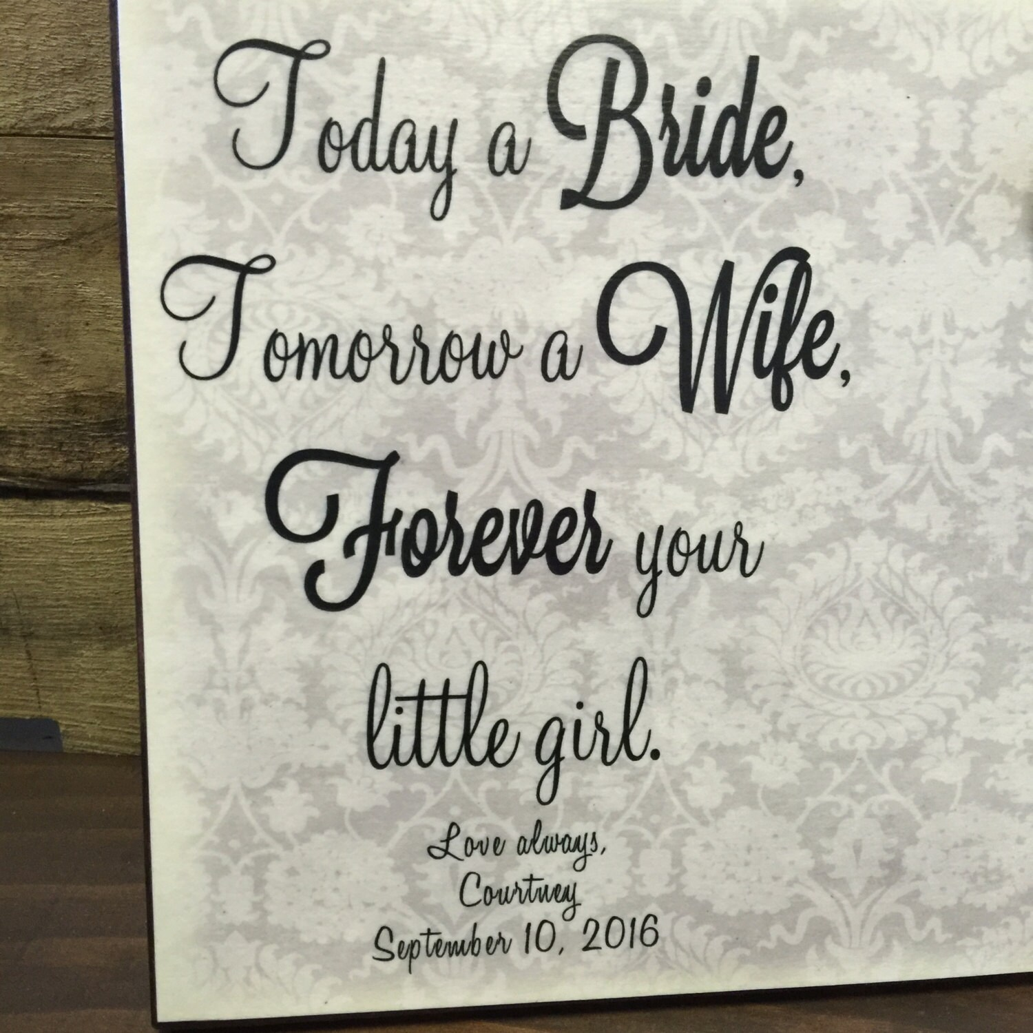 Parents Of The Bride Gift, Today a Bride Tomorrow a Wife Frame ...