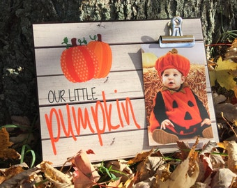 Fall Picture Frame, Our Little Pumpkin, Picture Frame For Kids, Photo Frame With Clip Picture Display, Grandparents Gift