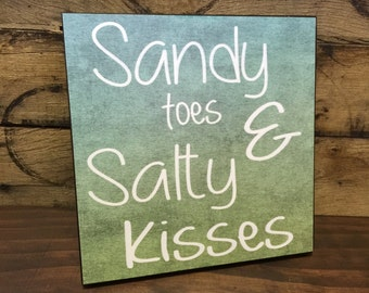 Sandy Toes And Salty Kisses, Wood Sign, Cabin Decor, Beach Decor,  Housewarming Gift, Couples Gift, Birthday Gift