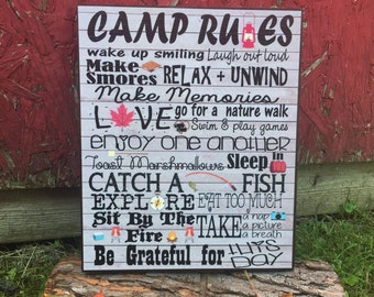 Camping Picture Frame, Camp Rules, Camping Word Art, Cabin Decor, Camper Decor