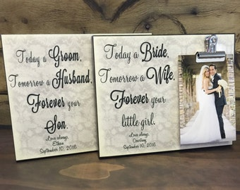Today a Bride & Today a Groom Wedding Frame Gift Set, Wedding Parents Gifts, Wedding Thank You Gifts, Mother of the Groom Gift