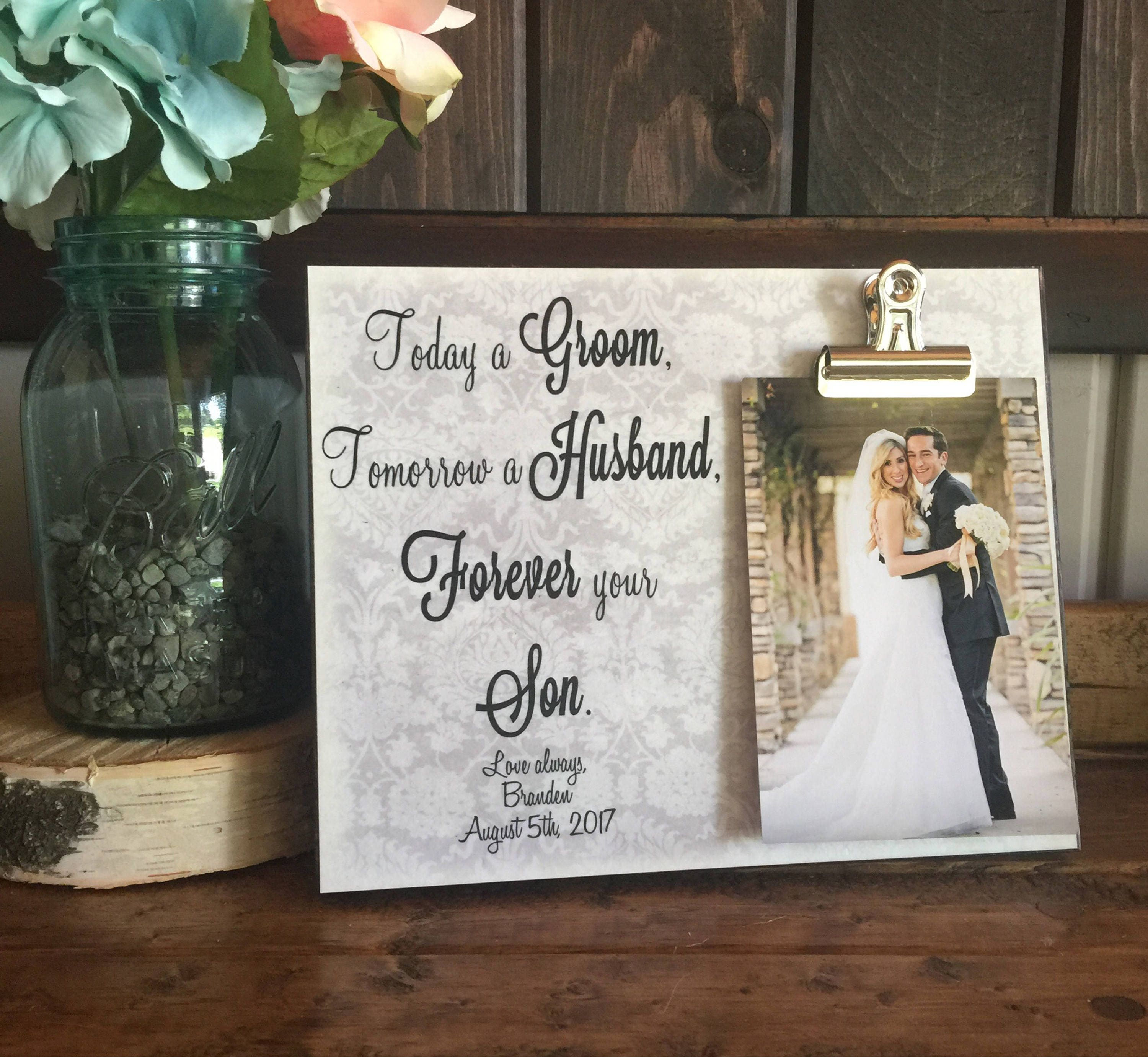ON SALE, Parents Of The Groom Gift, Today a Groom Tomorrow a Husband ...