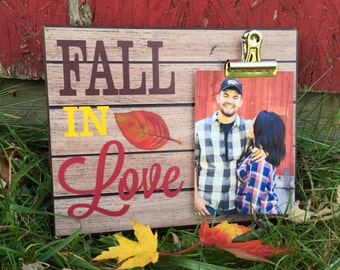 Fall Picture Frame, Fall In Love..., Photo Frame With Clip Picture Display