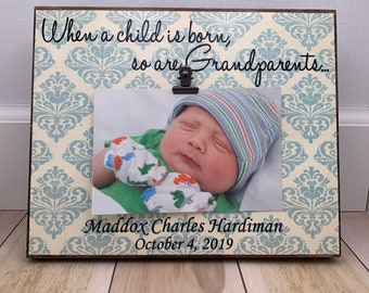 Personalized Grandparents Picture Frame, When A Child Is Born So Is A Grandparent, Grandparents Gift, 8x10 Photo Board Wit