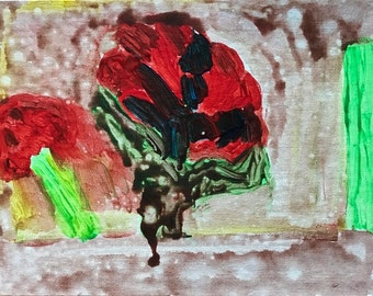 Dripping Red Flower 11 x 14 canvas panel