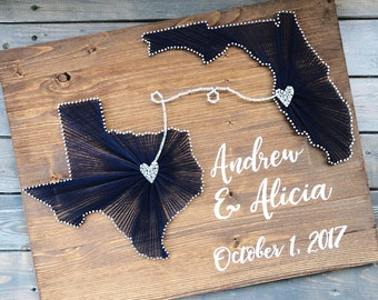 35d0ab4d4db Two state string art sign  Personalized Wedding sign  Cotton Anniversary  gift  2nd anniversary gift  Destination wedding sign  gift for her