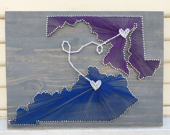 Two state string art sign/ Cotton Anniversary gift/ second anniversary gift for her