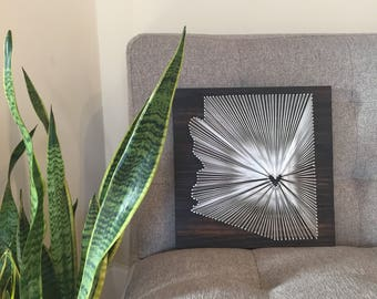 Arizona String Art Map Sign Home Personalized Wood Rustic Decor Love Unique Gift