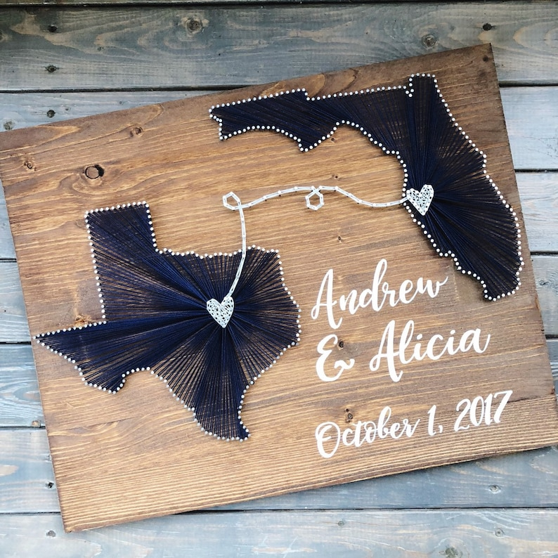 Two state string art sign/ Cotton Anniversary gift/ 2nd early american