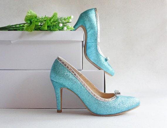 Aqua blue glitter wedding shoe light teal turquoise gleam | Etsy