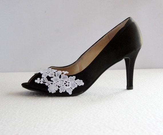 Black Satin White Lace Wedding Shoes Black Wedding Heel