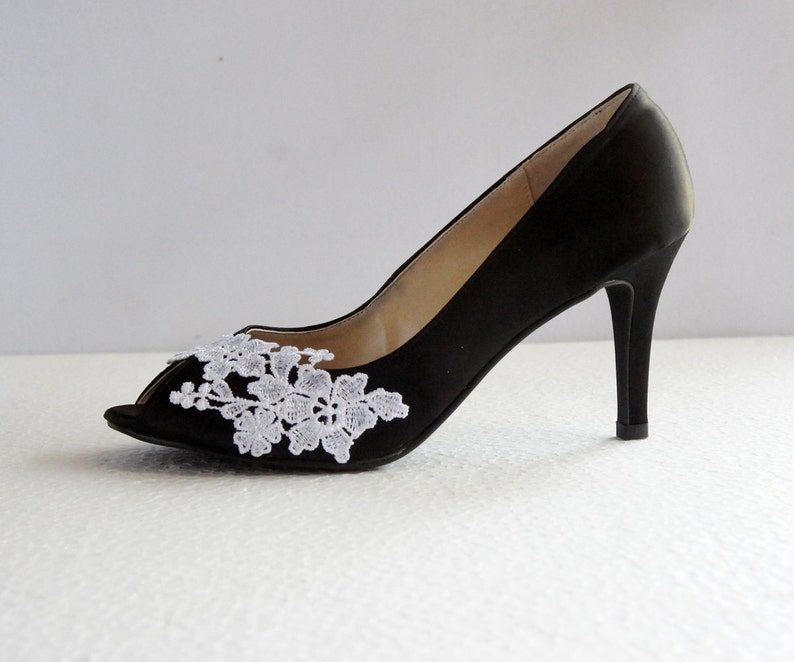 3a06f9162df Black satin white lace wedding shoes black wedding heel
