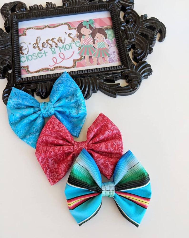 Serape Birthday Bow Serape Girls Bows Serape Fiesta Bow Serape Bow Solid Cotton Bow Serape Cotton Bow Toddler Serape Bow Fiesta Bow