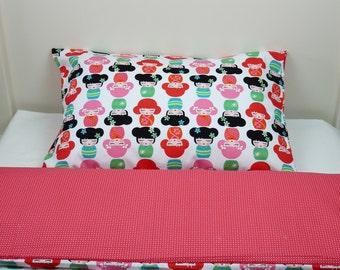 Bedding set - dolls & sweet squares + FREE PILLOW and DUVET
