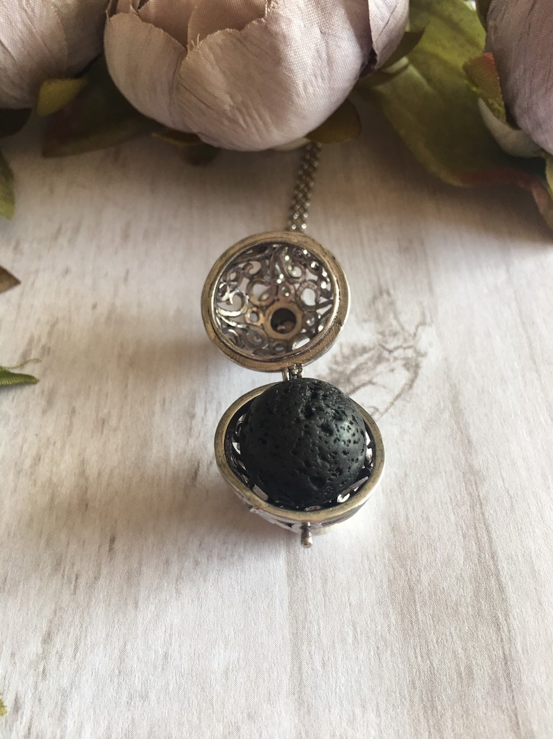 Aromatherapy Necklace Lava Stone Necklace Silver Locket Gift for Mom Baby Shower Gift Essential Oil Necklace Gift for Her July Birthday