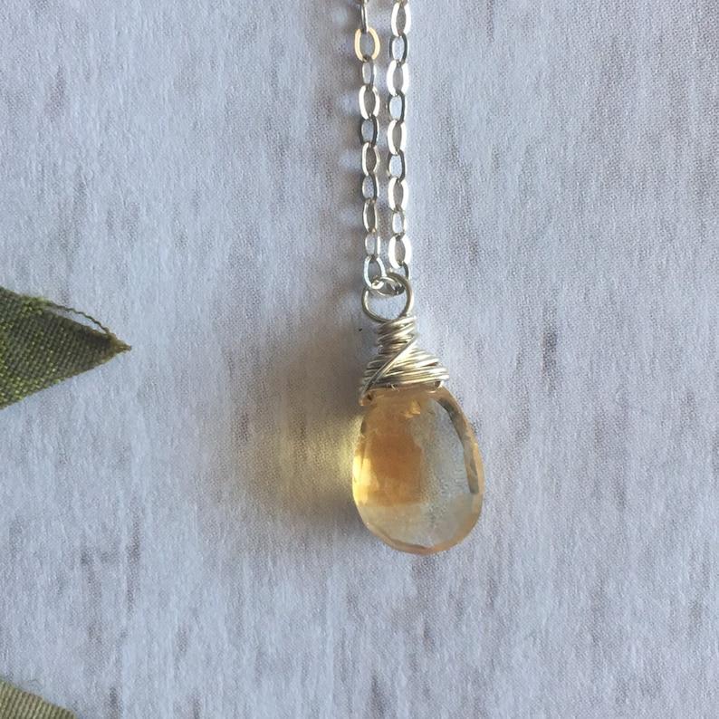 Mini Citrine Necklace Tiny Crystal Necklace Tiny Citrine image 0