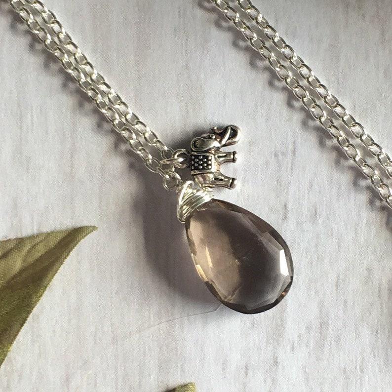 Smoky Quartz Necklace Crystal Necklace Elephant Charm Necklace image 0