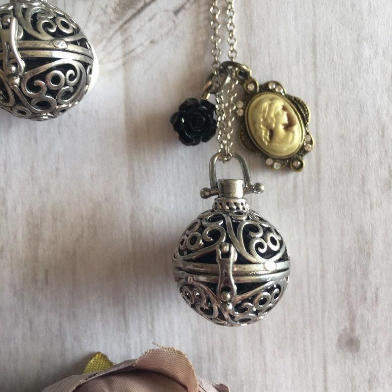 Aromatherapy Necklace Lava Stone Necklace Silver Locket Gift image 0