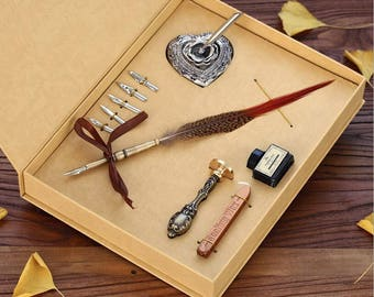 New Quill pen Box set quill pen Wedding Invitation Wax Seal Stamp letter Alphabet Wax Seal best  birthday present-021